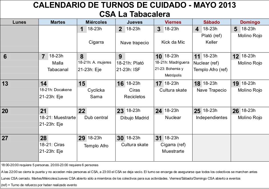 Calendario Turnos.Csa La Tabacalera Calendario Turnos Mayo Tbc
