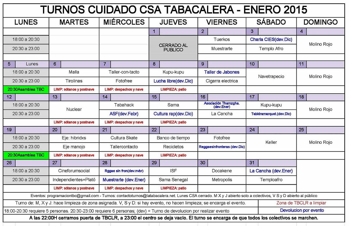 Calendario Turnos.Csa La Tabacalera Calendario Turnos Tbc 2015 Ene 2015