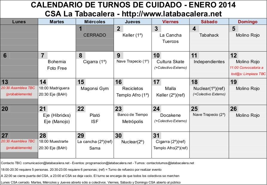 Calendario Turnos.Csa La Tabacalera Calendario Turnos Tbc Enero 2014