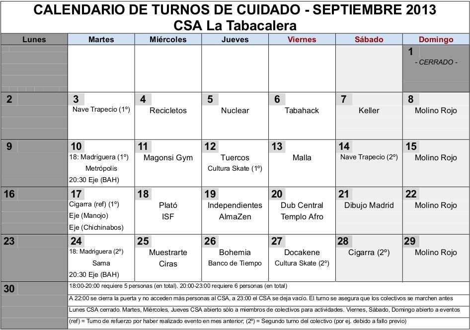 Calendario Turnos.Csa La Tabacalera Calendario Turnos Tbc Septiembre